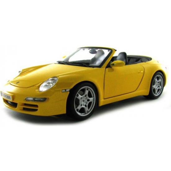 Schaalmodel Porsche 911 Carrera S Cabrio geel 1:18