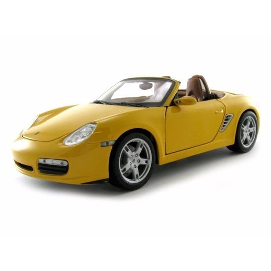 Schaalmodel Porsche Boxter S Cabrio geel 1:18