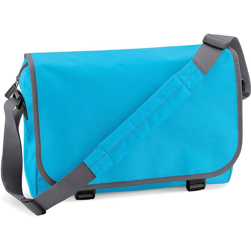 Schooltas-laptoptas turquoise-grijs met verstelbare schouderband 15 liter