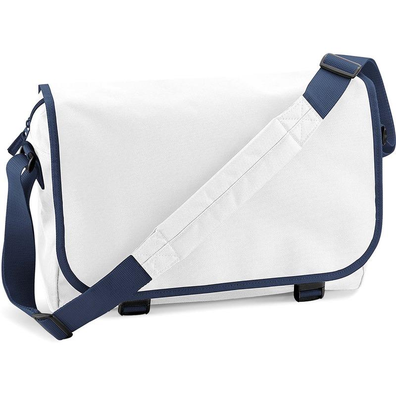 Schooltas-laptoptas wit-navy met verstelbare schouderband 15 liter