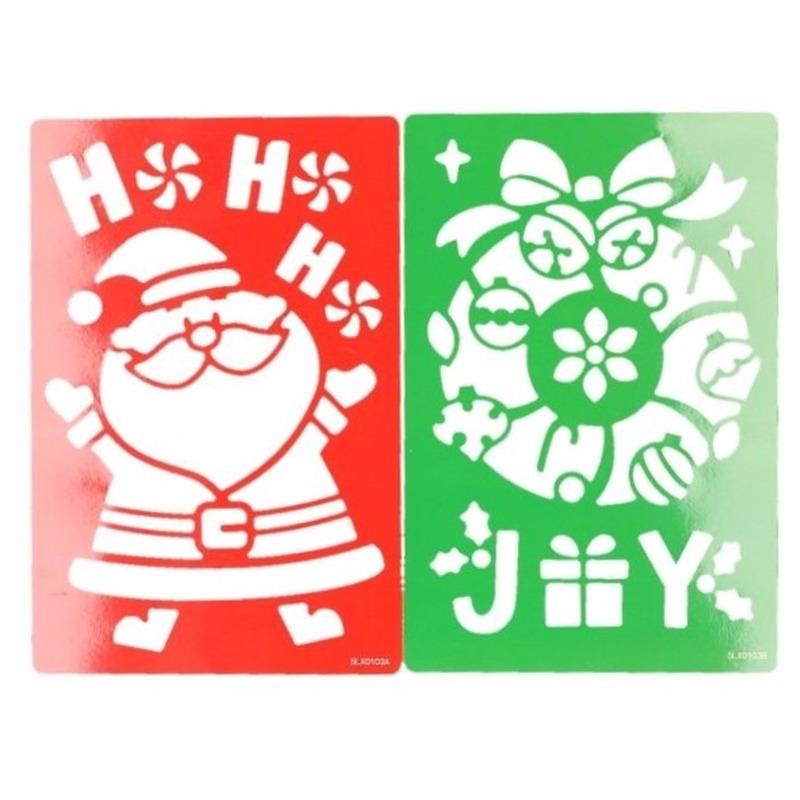 Sneeuwspray sjabloon kerstman-kerstkrans 25 cm