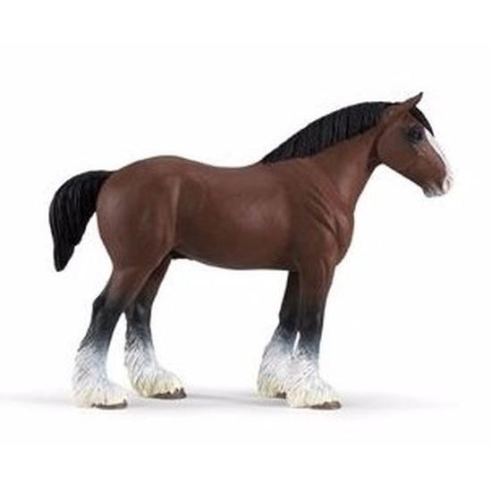 Speelgoed nep bruin trekpaard hengst 13 cm