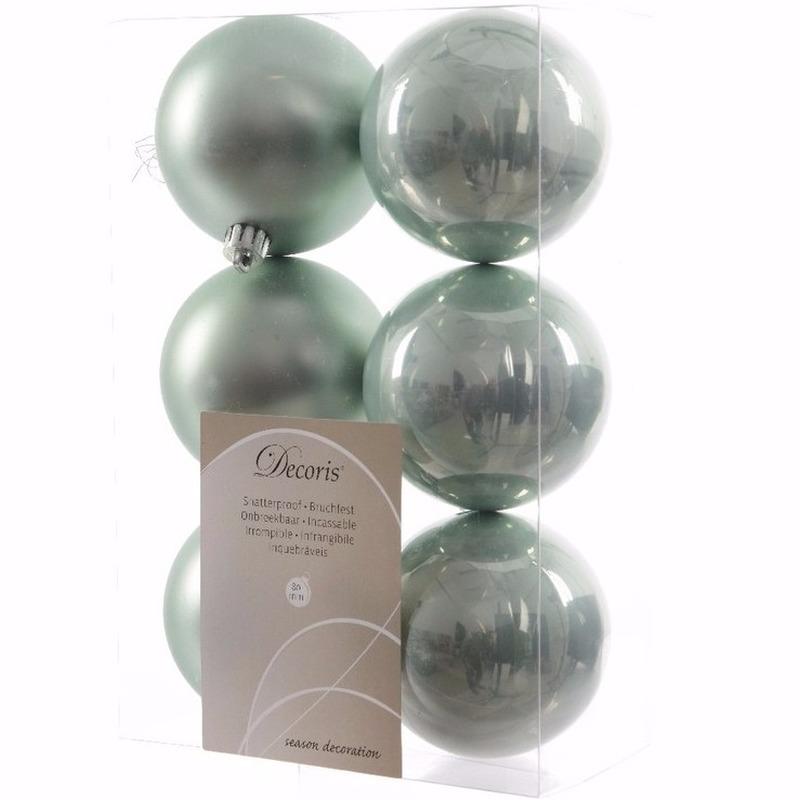 Sweet Christmas kerstboom decoratie kerstballen mint 6 stuks