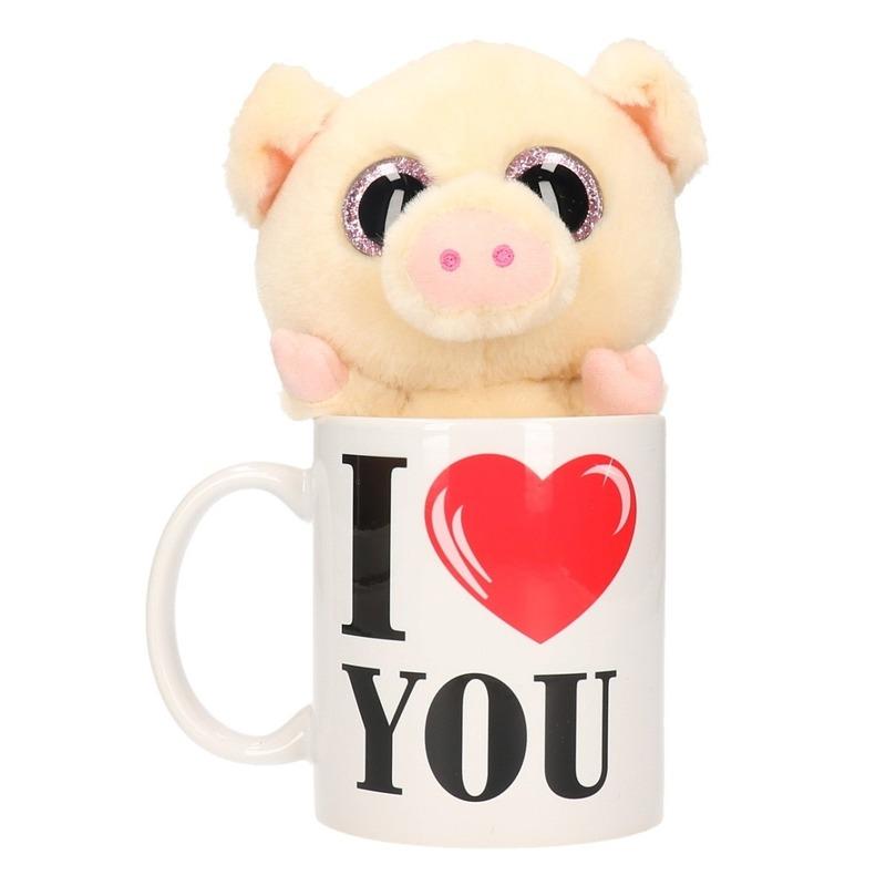 Valentijn kado I Love You beker met pluche varken-big