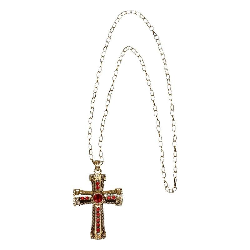 Verkleed Sinterklaas ketting goud-rood kruis voor heren-volwassenen