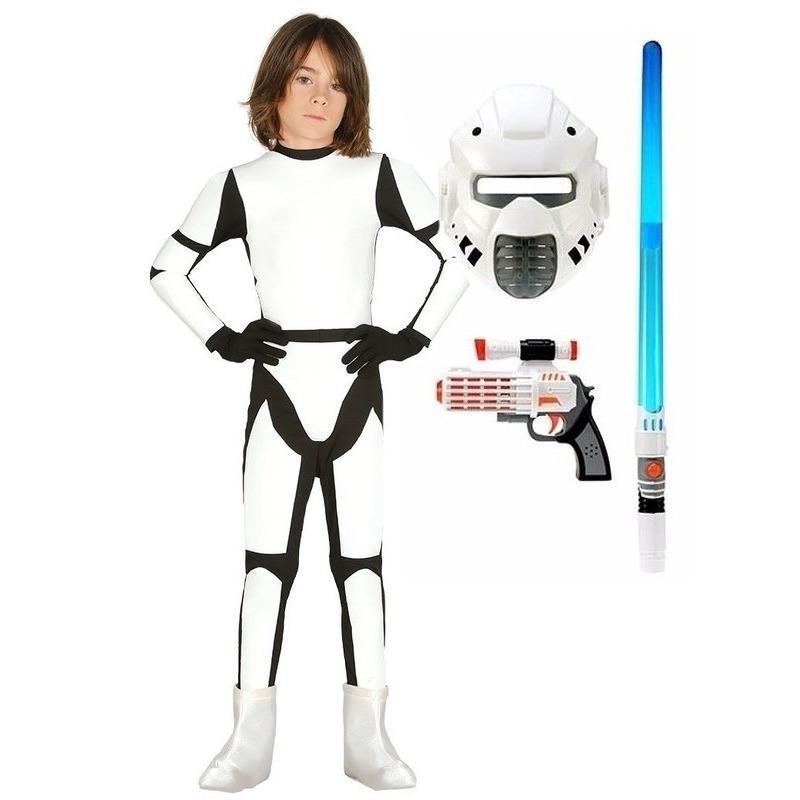 Verkleed witte ruimte soldaat kostuum maat 110-116 voor kinderen