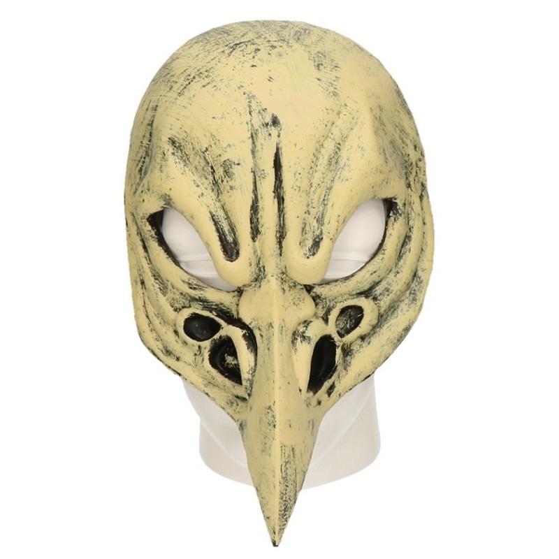 Grijze vogel schedel horror masker van latex. het is een half masker, de onderkant van uw gezicht blijft ...