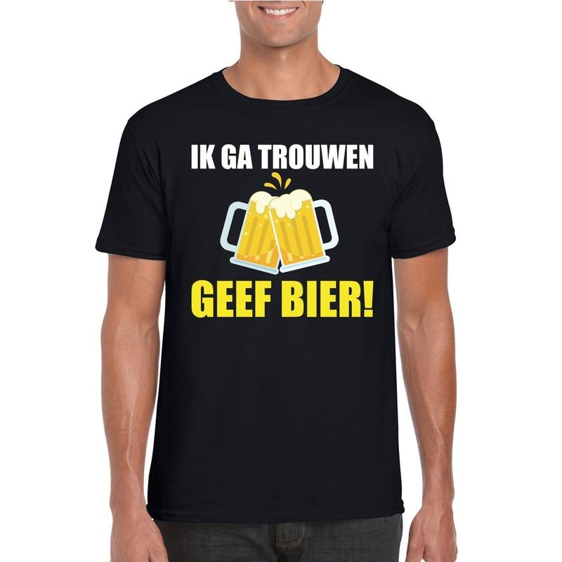 Vrijgezellenfeest bruidegom t-shirt zwart met bier heren