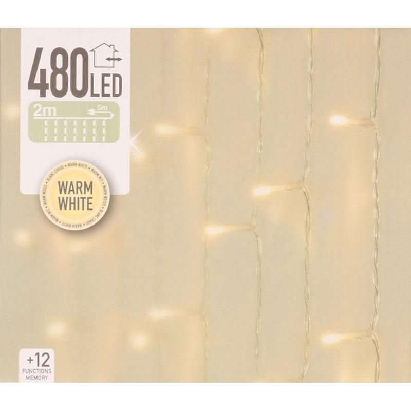 Warm witte deurgordijn kerstlampjes 2,25 x 3 meter met 480 lampjes