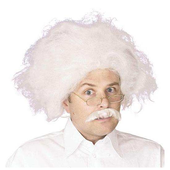 Warrige Einstein pruik met snor