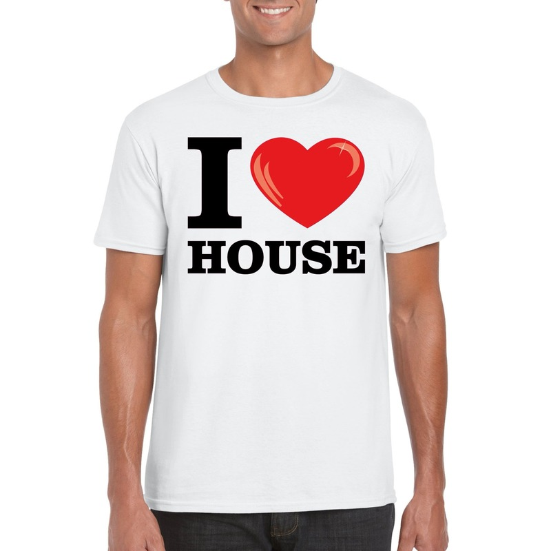 Wit I love house t-shirt heren
