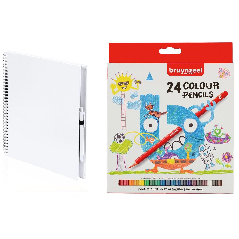 Wit schetsboek-tekenboek met 24 kleurpotloden