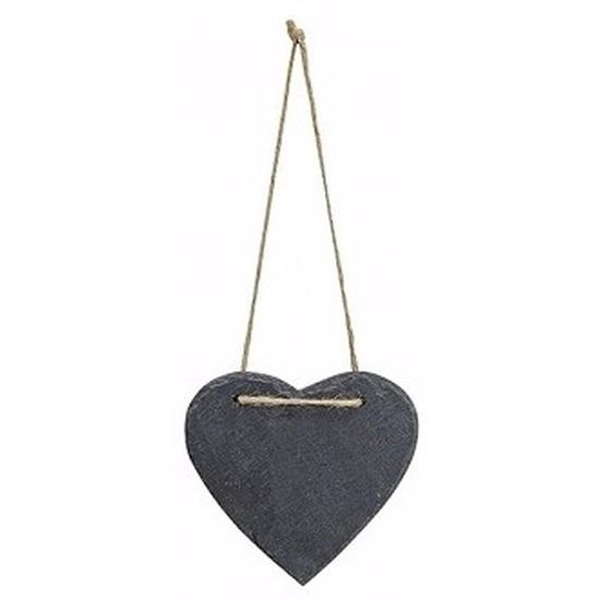 Woondecoratie hart 12 cm leisteen