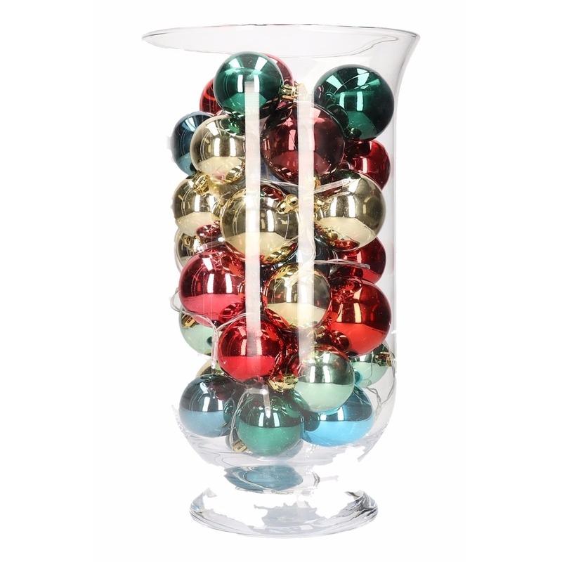 Woondecoratie vaas met gekleurde kerstballen