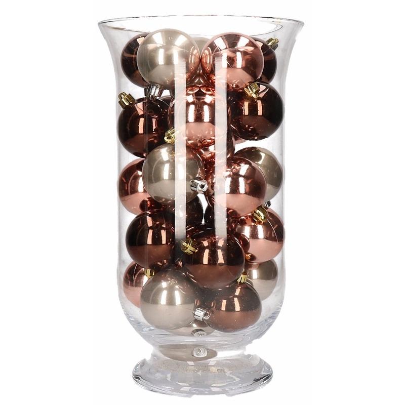 Woondecoratie vaas met roze glamour kerstballen