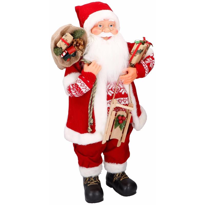 Woonkamer decoratie kerstman 61 cm