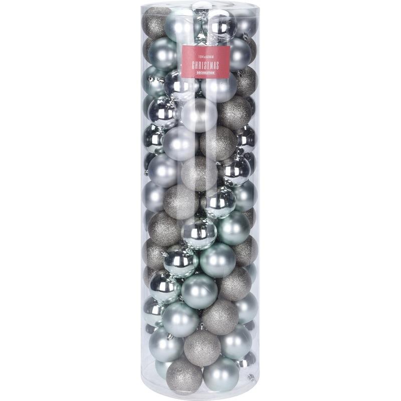 Zilver en mintgroene kerstballen set 6 cm