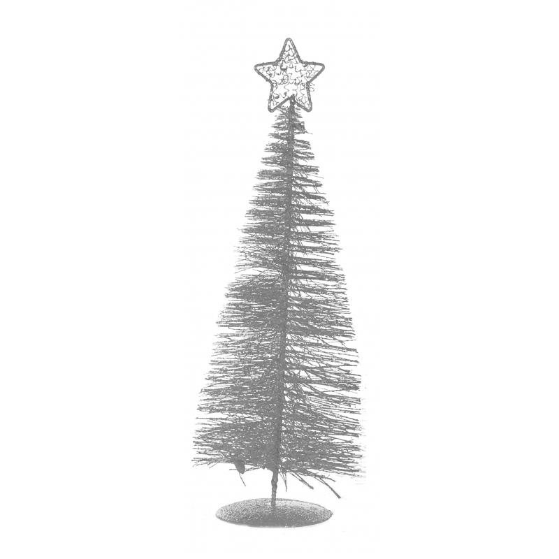Zilver kerstboompje 21 cm
