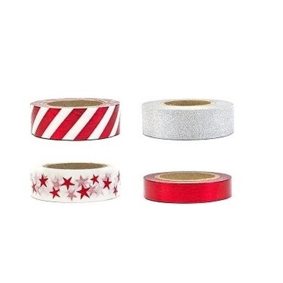 Zilver met rode decoratie tape zelfklevend