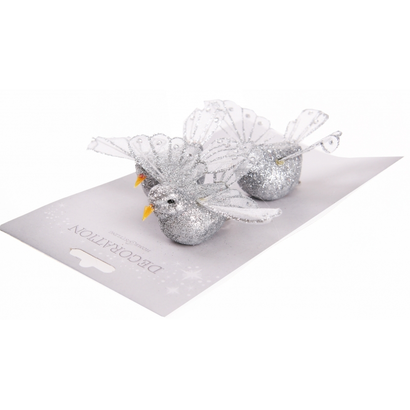 Zilveren decoratie vogel met glitters