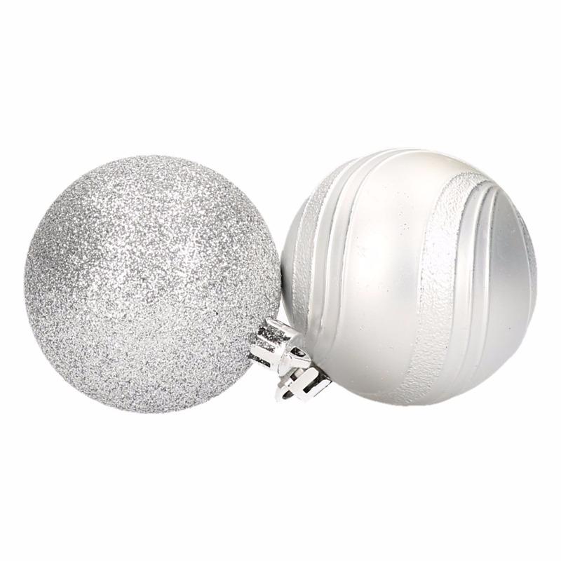 Zilveren kerstballen glitter en mat