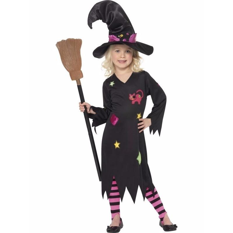 Zwart met roze heksenjurk Rosy kind