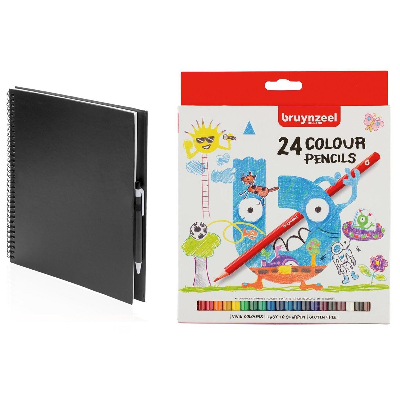 Zwart schetsboek-tekenboek met 24 kleurpotloden