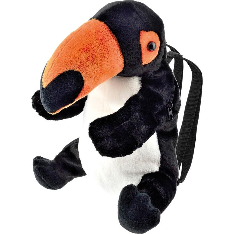 Zwarte toekan vogel rugzak-rugtas knuffels 32 cm knuffeldieren