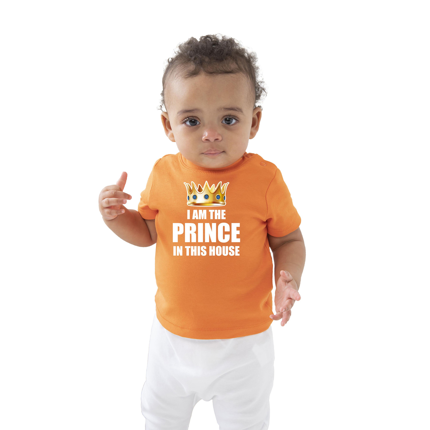 I am the prince in this house t-shirt oranje Koningsdag voor baby-peuters