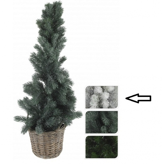 Kerstboom wit in mand 80 cm